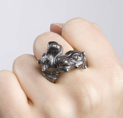 rabid fox, fleathers, etsy, hippo ring, jewelry