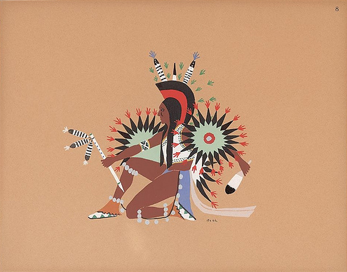pochoir, print, kiowa five, native american, thlooksee