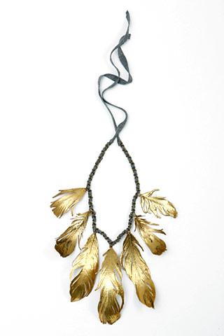 aurelie bidermann, gold feather, necklace, the looksee
