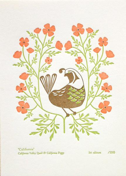 dutchdoor, etsy, bird, state, flower, california, print, letterpress, thelooksee