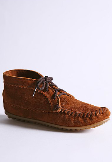 urban outfitters,  minnetonka, moccasin, bootie, suede, fashion, thelooksee