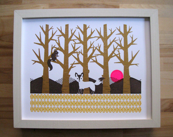 wonting, woodland, print, gocco, the looksee