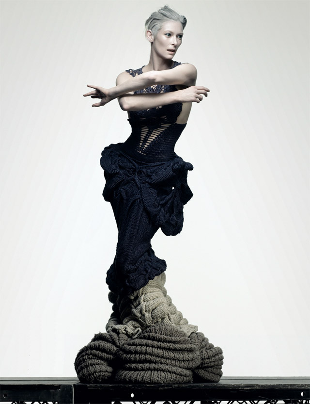 sandra backlund, tilda swinton, fashion, knits, sculpture, another magazine, thelooksee