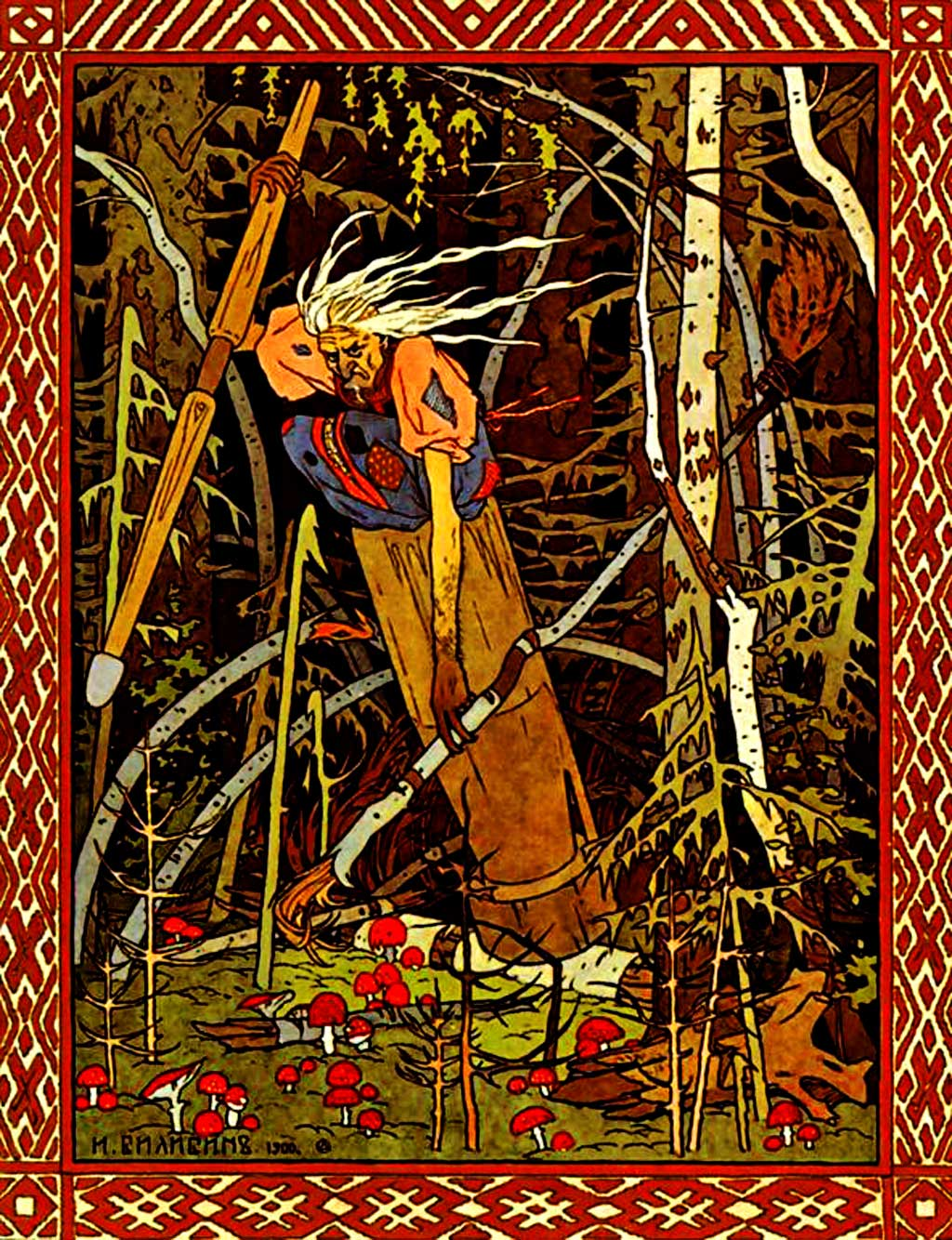 ivan bilibin, babayaga, jaga baba, thelooksee, fairy tales, russian