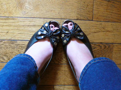 bruno magli, vintage, shoes, slingbacks, bow, polka dot, thelooksee