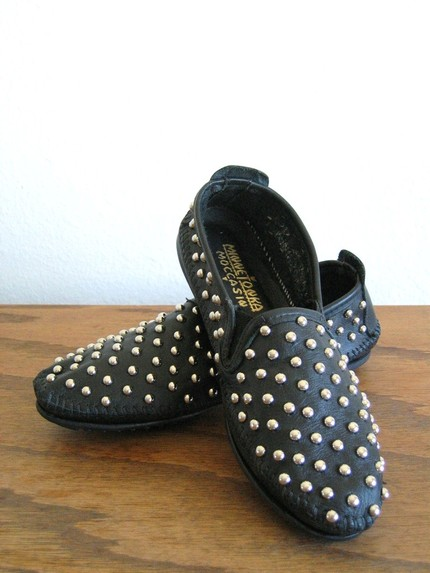 studs, moccasins, two string jane, booties, shoes, etsy, punk, thelooksee