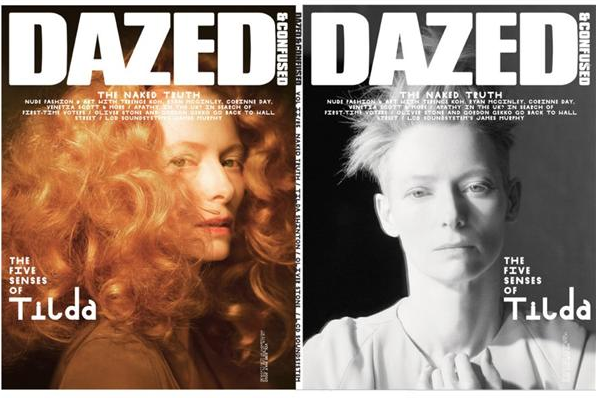 dazed and confused, tilda swinton, cover, magazine, photo, thelooksee