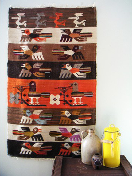 vintage bird tapestry, lucky little dot, native american, woven, etsy, thelooksee