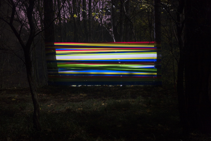 swollen design studio, tape, art, installation, graphic design, light, forest, thelooksee