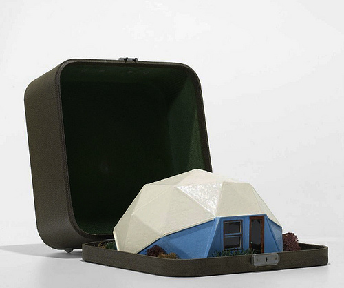 geodesic, buckminster fuller, dome, house, sample, suitcase, sales, thelooksee