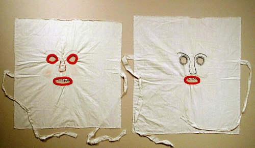 folk art, masks, cloth, textiles, antique, vintage, handmade, hammer gallery, thelooksee