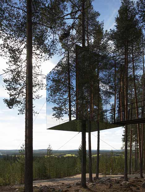 tree hotel by tham and videgard arkitekter, building, mirrorcube, thelooksee