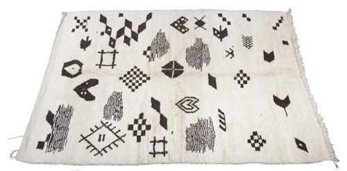 moroccan rug, beni ourain, black and white,  geometric, the look see, etsy