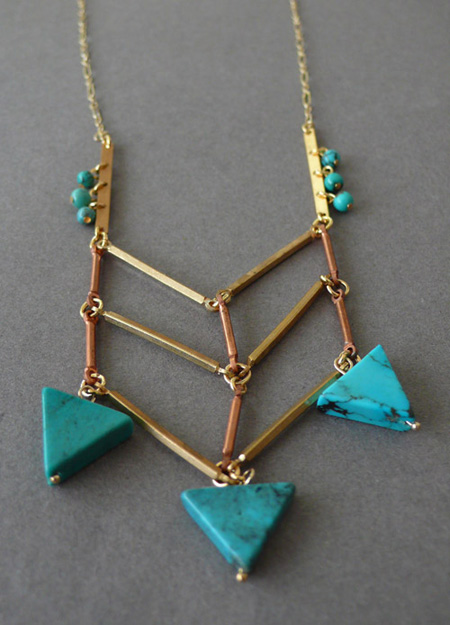 the look see, turquoise, triangle, christina beaulac, jewelry, vintage, fringe, bib, etsy, blog