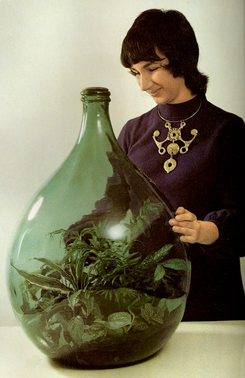 vintage, time life book, foliage house plants, terrarium, bottle, 70's, the look see