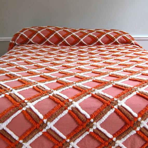 chenille, plaid, bedspread, barking sands vintage, etsy