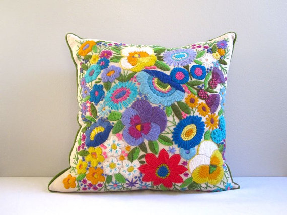 crewel pillow, floral, bright, projector, etsy