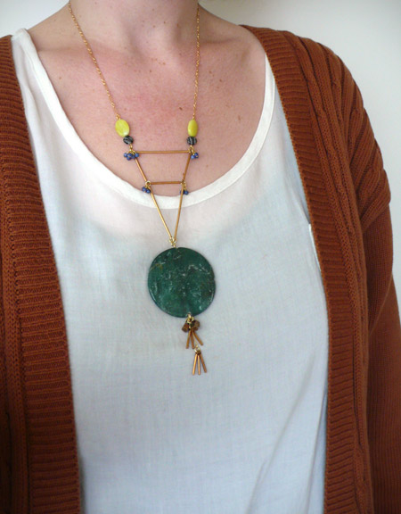 oversize, medallion, stone, semiprecious, statement, the look see