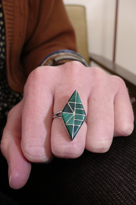 ring, malachite, vintage, geometric, the look see, ®christina beaulac