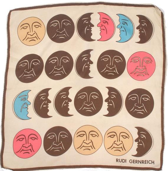rudi gernreich, scarf, silk, textiles, accessories, moon, modern, phases