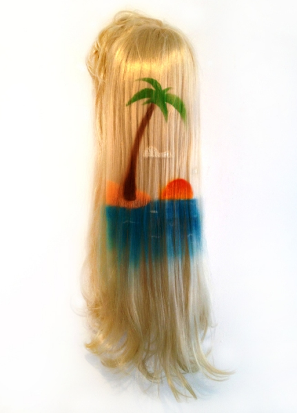 eric mistretta, wig, spray paint, hair, island, art