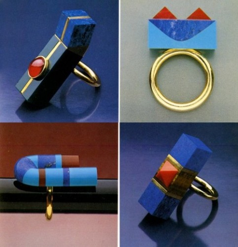 rings, Arata Isozaki, architecture, inlay, lapis, statement, jewelry, minimal