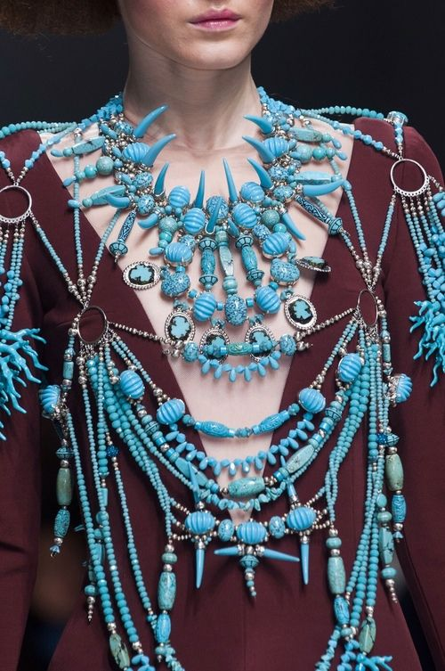runway, turquoise, body jewelry, tribal, couture